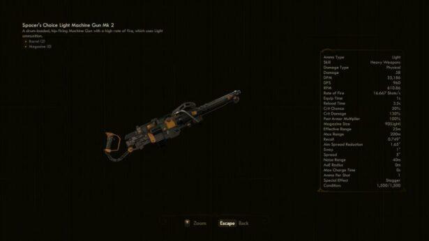 the outer worlds light machine gun